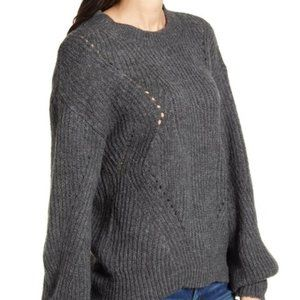 New BP. Chunky Pointelle Sweater XS Gray 236